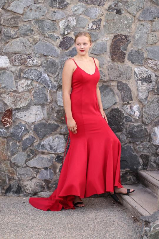 Red Back Strap Formal Dress 2