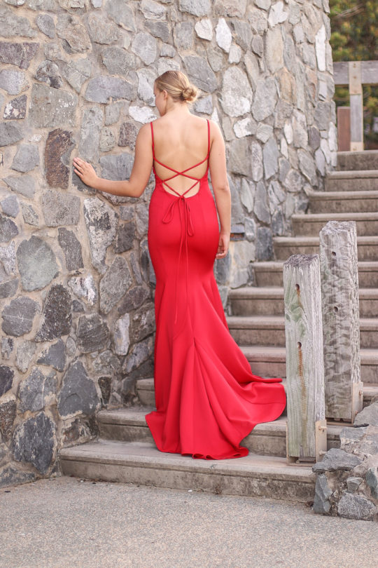 Red Back Strap Formal Dress