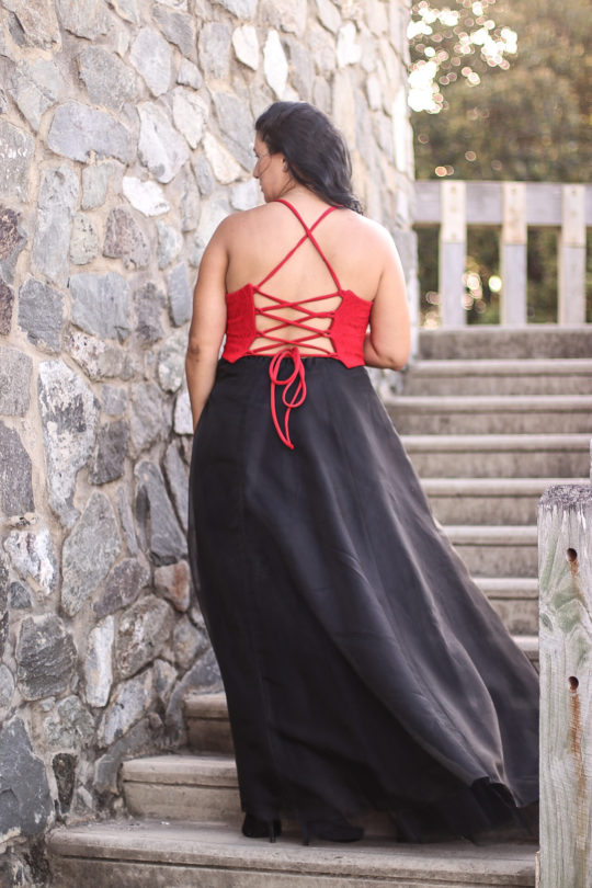 Red and Black Formal Dress